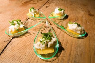 crostini di polenta al baccalà mantecato