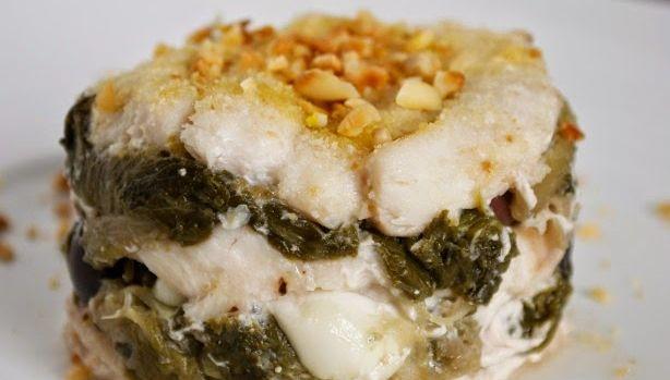Gateau di pesce bandiera, scarole e mozzarella di bufala